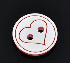 10 in Resina Rotondo Bottoni Cuore Rosso 13mm buona qualità per cucito album ritagli Craft