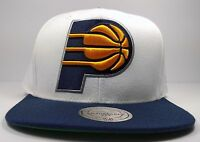 Indiana Pacers Mitchell & Ness Vintage STA3 XL White Blue Snapback Hat Cap NBA