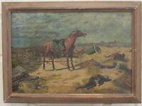"ANTIQUE CIVIL WAR ERA"" AFTER BATTLE"" OIL PAINTING ON CANVAS SIGNED AND DATE 1912"