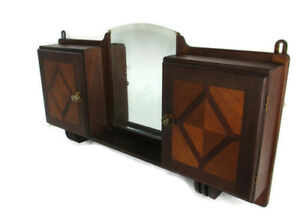 Double Apothecary Bathroom Medicine Kitchen Cabinet Wood Art deco Inlay WOW