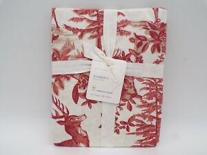 """Pottery Barn Alpine Toile Reindeer Organic Shower Curtain 72"""" Red Multi #9806D"""