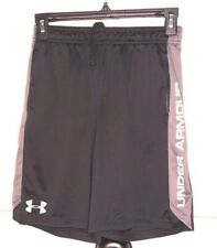 Under Armour Loose Basketball Shorts Black Gray stripe Youth M