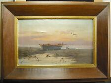 Huile sur toile c1930 bateau de pêche à marée basse Bretgne ? Signature à det