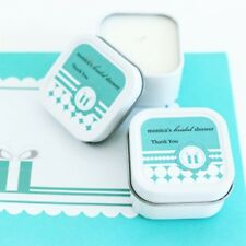 96 Personalized Square Tin Something Blue Candles Bridal Shower Wedding Favors