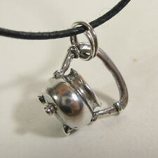 Cauldron Kettle Charm Pendant Necklace .925 Sterling Silver Black Cord USA Made