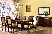 Contemporary Dining Room 7p Set Dining Table w Leaf Fabric Chairs Antique Cherry