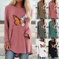 Womens Autumn Tee Long Sleeve T-shirt Plain Basic Loose Shirt Blouse Tops Chic