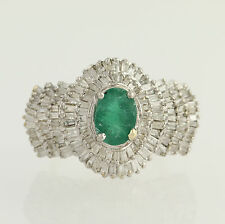 Emerald & Diamond Cocktail Ring - 14k Yellow & White Gold Baguette Cut 3.50ctw