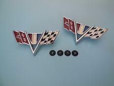 CHEV: 1964 1965 1966 1967 IMPALA CHEVELLE FRONT FENDER CROSS FLAG EMBLEMS CHEVY