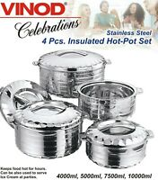 3pc/4pc Set - Stainless Steel Cold Hot Pot Food Insulated Casserole Double Wall