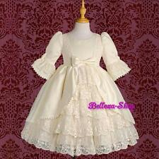 Quality Satin Lace Wedding Flower Girl Party Victorian Dress Ivory Sz 2-3T VD003