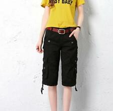 Womens Cargo Cotton Pants Military Slim Shorts Hiking Overalls Pockets Straight