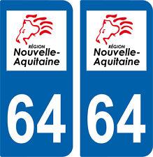 2 autocollants style immatriculation auto Département 64 NOUVELLE AQUITAINE