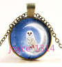 Vintage Owl In moon Cabochon bronze Glass Chain Pendant Necklace TS-3891