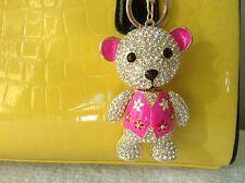 Extra Large Crystal Alloy Cute Bear Purse Charm Key Chain Key Ring