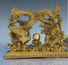 Old  China  brass  Dragon and Phoenix Opera  Feilong and feilfeng  statue