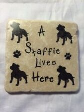 Unusual Handmade Stone Tile Coaster/A Staffie Lives Here/Paw Prints/Gifts/Xmas