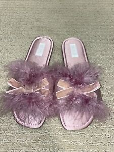 Pink Feather House Slippers