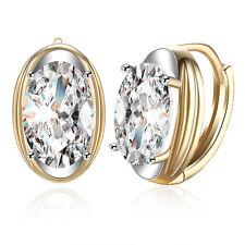 Romantic Women Luxury 18K Gold Jewelry Oval Zircon Buckle Hoop Huggie Earrings