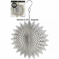 "6""/15cm SILVER WHIRL Stainless Steel Wind Spinner Sun Catcher Hook Garden Gift"
