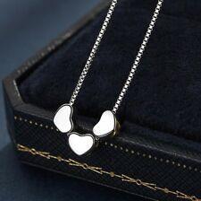 Elegant! Tiny Love Three Heart Silver SP Pendant Chain Necklace