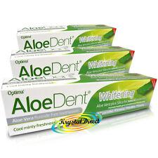 3x Optima Aloe Dent Whitening Aloe Vera Flouride Free Toothpaste 100ml