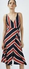 Topshop Size 6 Blue Red Pink Stripe Wrap Slip Dress Bnwt £39