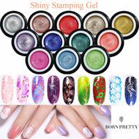 BORN PRETTY 5ml Stamping UV Gel Polish Sheer Glitter Gel Kits For Stamp Plates