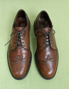 Vintage French Shriner Brown Leather Wing-Tip Lace Up Oxfords Shoes 9.5 D