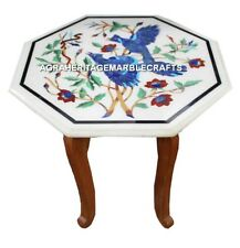 White Marble Side Top Table With Stand Lapis Inlay Marquetry Birds Decor H3049
