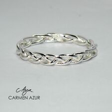 Solid 925 Sterling Silver Midi Ring Above Knuckle Braided Stacking New, Gift Bag