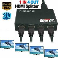 1 in 4 out Box Hub Full 1080p HD 1X4 Port HDMI Splitter Amplifier Repeater