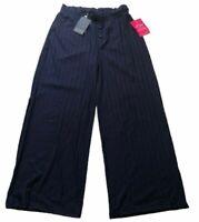 Girls On Film Womens Trousers Size UK 16 Navy Rib Wide Leg Elastic Waist NEW