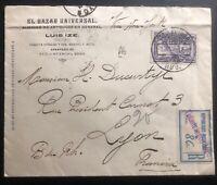 1925 Tulancingo Mexico Commercial Registered cover To Lyon France Sunburst Label