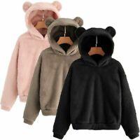 Women Fleece Fur Fluffy Winter Warm Bear Ear Jacket Hoodie Outwear Coat Winter