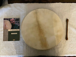 "Bodhran Irish Drum 16"" With Natural Skin. Beater and The Bodhran Book"
