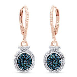 1/4 Ct Blue Natural Diamond Drop Earrings Sterling Silver 14k Rose Gold Over