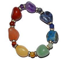Seven 7 CHAKRA Tumbled GEMSTONE Bead Healing Energy YOGA Reiki Jewelry BRACELET