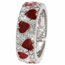 925 Silver Red Enamel & CZ Ring Size 9
