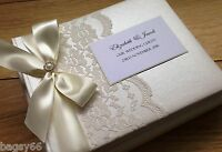 Personalised Wedding Guest Book Luxury Vintage Lace Design Large Boxed