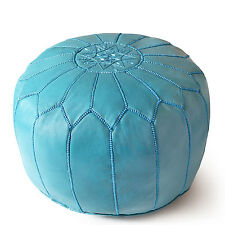 MOROCCAN TURQUOISE HAND STITCHED LEATHER POUFFE