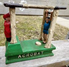 Antique Hubley Mechanical Circus Acrobat Bank, Cast Iron , Signed, 1882, Works!