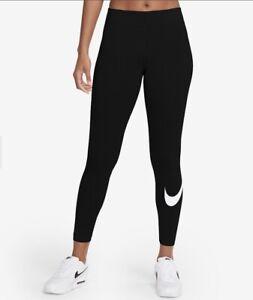 Nike Women's Tight Fit Mid Rise Swoosh Essential Full Length Leggings In Black