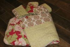 New ListingVguc Pottery Barn King Size Quilt & 3 Euro Shams! Red Green Roses & Medallions!