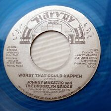 JOHNNY MAESTRO blue vinyl 45 VG++ WORST THAT COULD HAPPEN YOUR HUSBAND  e8930