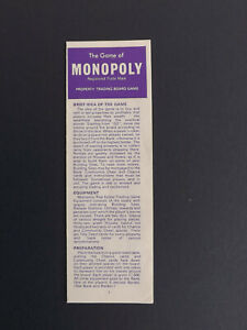 MONOPOLY Board Game, INSTRUCTIONS ONLY, Not Complete Game, Parker Bros, 1972.