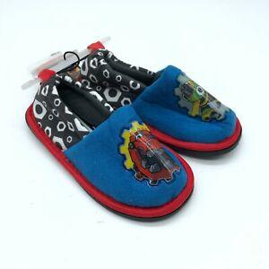 DinoTrux Toddler Boys Slippers Fleece Slip On Blue Red Size 7/8