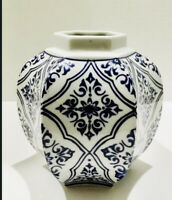 Blue and White Hexagon Vase Chinoiserie 6 Sides