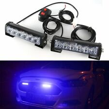 12V 6LED Car Grille LED Beacon Light Bar Hazard Police Strobe Warning Lamp Blue