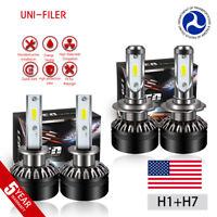 H1 H7 LED Headlight Bulb Conversion Kit High Low Beam Fog Lamp 6000K White HID